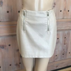 Faux leather double zip mini skirt